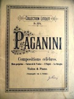 PAGANINI COMPOSITIONS CÉLEBRES - COLLECTION LITOLFF No. 2374